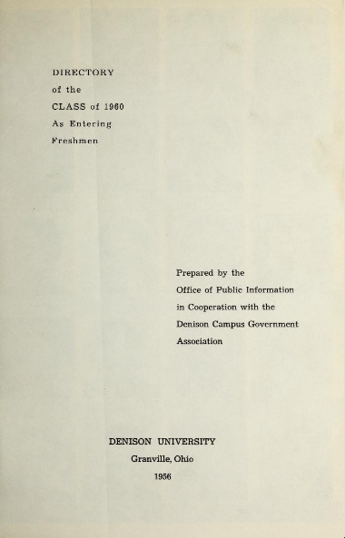 The cover of the 1956 Freshman Directory